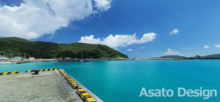座間味島・座間味港の360度パノラマ写真