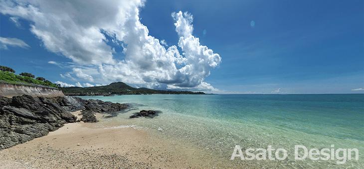 恩納村・名嘉真のビーチ2の360度パノラマ写真