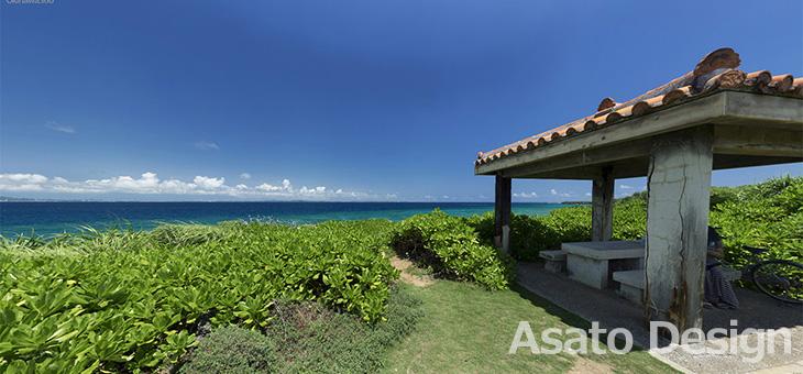 久高島・ロマンスロードの東屋の360度パノラマ写真