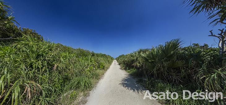 久高島・カベール岬の道の360度パノラマ写真