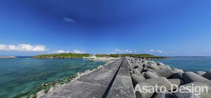 久高島・徳仁港2の360度パノラマ写真